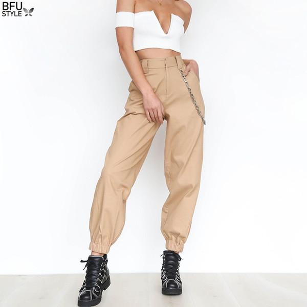 Fashion Side Chain Pants For Women Loose Wide Leg Harem Pants Women's Winter Trousers Young Girls Chain Hip Hop Sporting