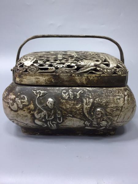 Raro cinese antico argento tibetano intagliato a mano He er er xian incenso