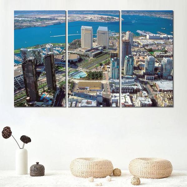 Modulaire 3 pcs impression sur toile peinture san diego centre ville californie moderne décor à la maison