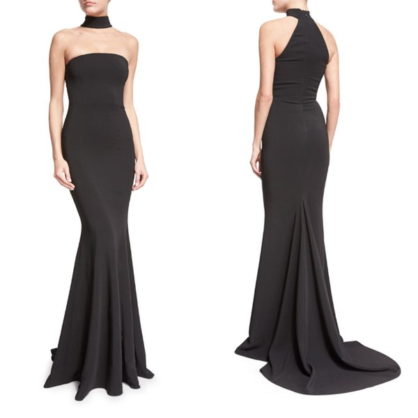 Fashion Design Black Halter Mermaid Prom Dresses High Neck New 2019 Women Simple Satin Evening Gowns Cheap Special Occasion Red Carpet Dress