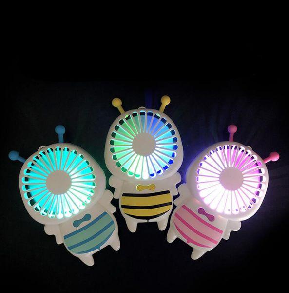 Deportes Mini ventilador portátil Al aire libre Ventiladores de mano eléctricos con luces LED Inalámbrico USB con batería recargable