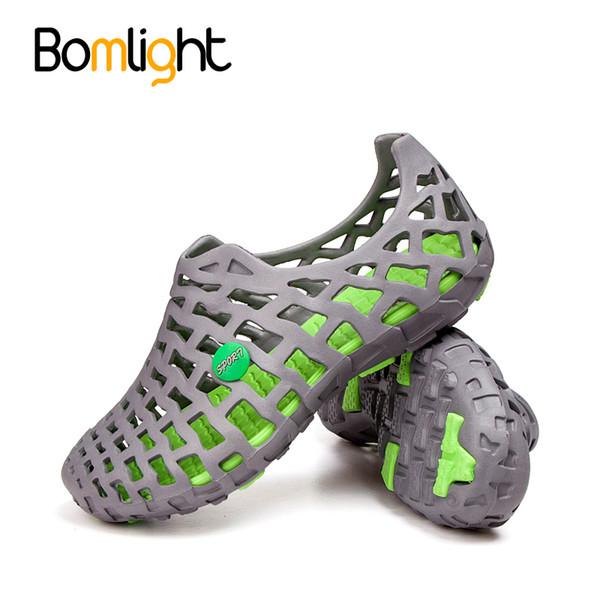 Bomlight new 2018 verão oco homens casuais sandálias moda respirável praia sandálias sapatos de praia sapatos de água chinelos