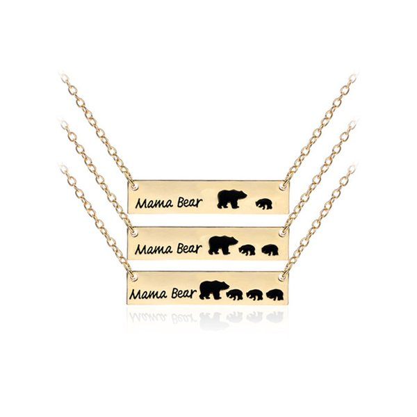JUXU Exquisite Mama Bear Children Mom Pet Tag Pendant Necklace Jewelry Mom Gift Family Love 100pcs