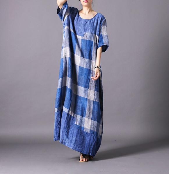 cc0f124e484a Women Cotton Linen Plaid Loose Dress Ladies Casual Simple VIntage Cotton  Flax Retro Dress Female Summer