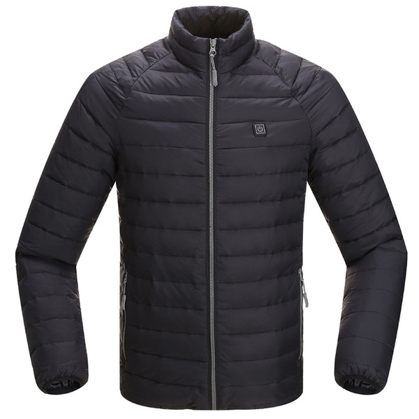 Men Casual Adjustable Temperature Winter Outerwear Windproof Clothing Electric Heating Jacket Super Warm Sports Solid