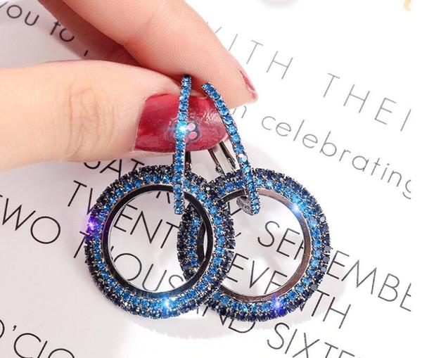 top popular New Designer 925 silver needle rhinestone circle crystal from Swarovski long earrings temperament Korean personality wild earrings 2019