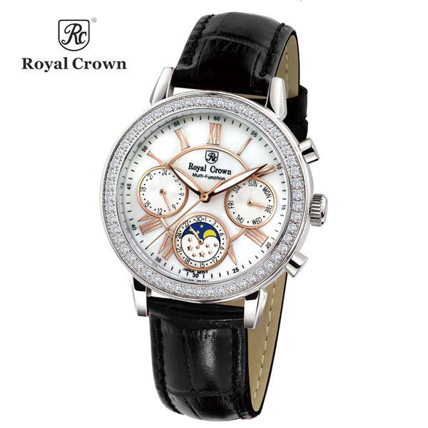 Réel multi-fonction Royal Crown Luxury Lady montre de la mode des femmes bracelet en cuir Bracelet cadeau d'anniversaire de fille de strass