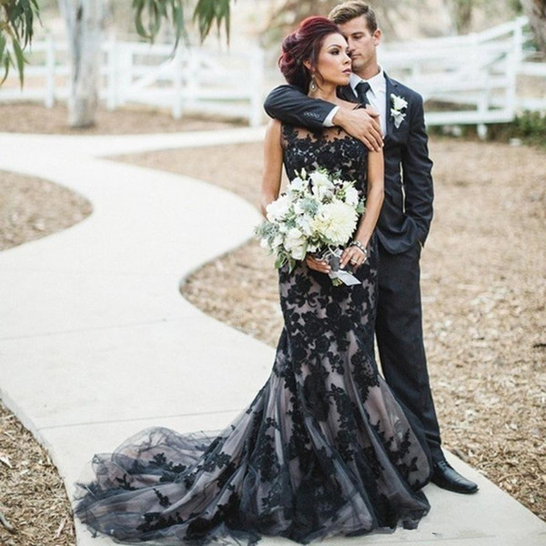 best selling Fashion Black Gothic Mermaid Wedding Dresses Cheap Sheer Crew Neck Lace Bride Bridal Wedding Gowns Sweep Train robe de mariage Real Image