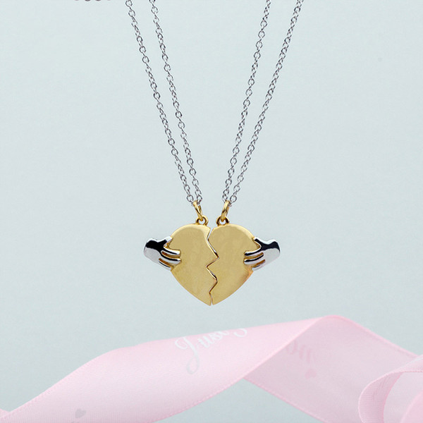 Broken Heart Shape Chain Pendant Necklace Statement 925 Gold /silver for lover/couple/friends Jewelry Gift 2019 drop shipping