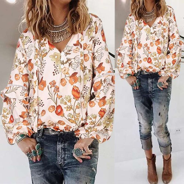 2020 2020 ZANZEA Elegant Floral Printed Tops WomenS Lace ...