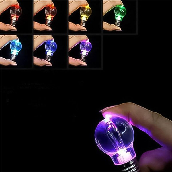 LNRRABC Hot 1 Pc Unisex New Popular Charming Clear LED Light Lamp Bulb Change Colors Key Chain Gift
