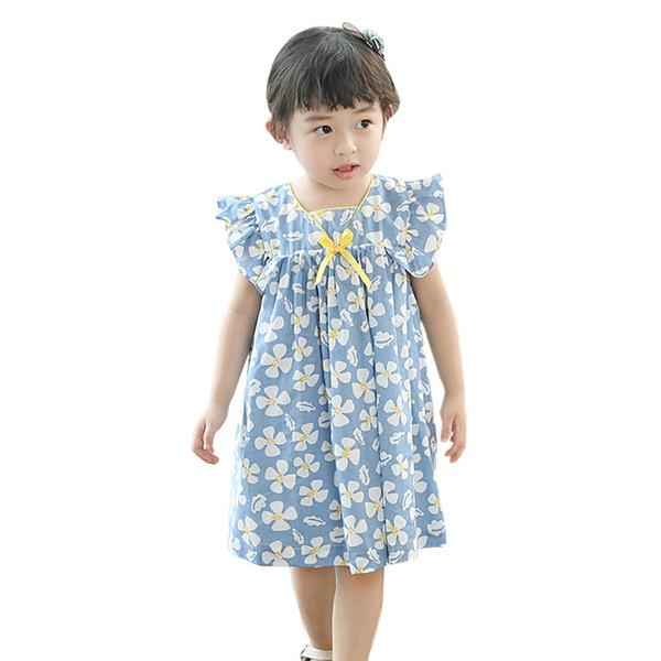 Rüschendruck langes Kleid Alter für 3-10 Jahre Baby-Jahrgang Kleider 2019 neue Sommerkinder niedlich lose kleine Mädchen Baumwollkleid