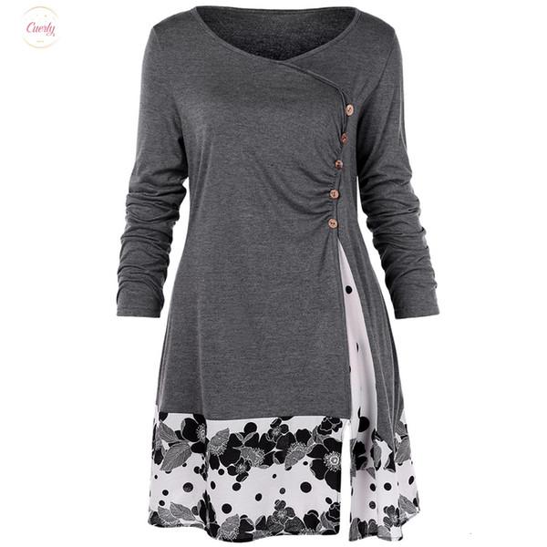 Blusa Além disso 5XL drapeado Floral longa túnica camisas de manga comprida O Neck Botões Embelezada Botão Casual Mulheres Spring Tops Tee