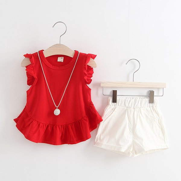 2019 Korean Baby Girls Clothes Sets Newborn suits fashion Litter girl clothes tracksuit set 2pcs Red Color Shorts Summer Infant Outfits