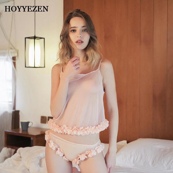Hoyyezen 2019 новой сексуальная женщина пижамы слинга прозрачной сладкая круглая шеи кружево цветок пижама + трусики костюм E82