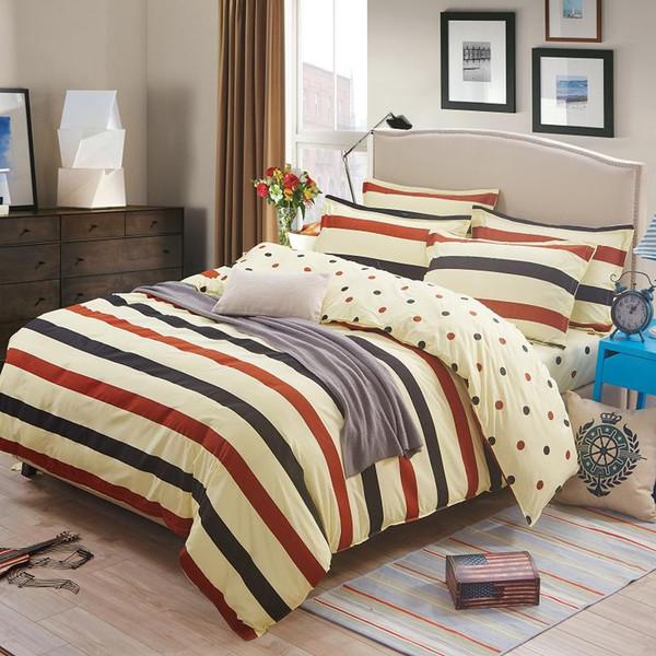 Bettwäsche Bettbezug-Set 3/4 Stück dickere weiche Trösterdecke Bettwäsche-Set Striped Style Queen Full Twin Größe