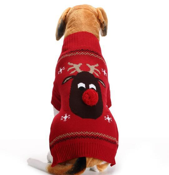 Christmas dog sweater Red-Nosed deer red pet sweater big dog clothes