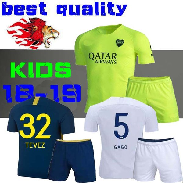 kids 2018 2019 Boca Juniors Soccer Jersey GAGO CARLITOS HOME AWAY Football jersey shirts Boca Junior 18 19 Child BOYS TEVEZ BENEDETTO ABILA