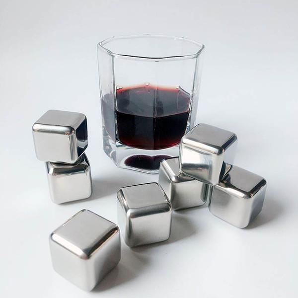 Cubo di ghiaccio in acciaio inox Cubetti di metallo di whisky Vino rosso di pietra Cubetti di ghiaccio per la festa di nozze di birra Bar Household