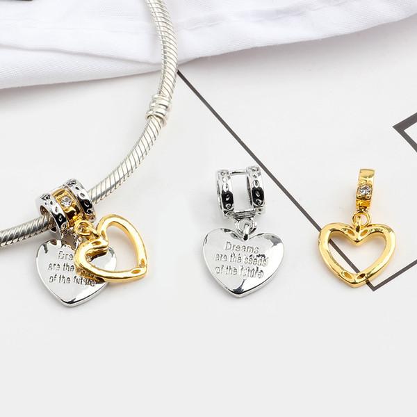 bbb850617cd Nouveau Original Argent Plaqué Perle Alliage Famille Mère Amour Coeur  Pendentif Charme Fit Pandora Bracelet Collier DIY Femmes Bijoux
