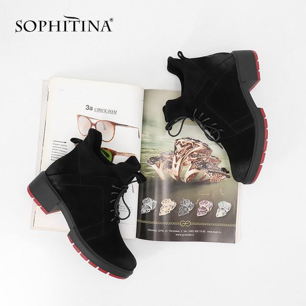 SOPHITINA легкие ботильоны удобные низкие каблуки Серебряный круглый носок шнуровке обувь женщина короткие плюшевые теплые ручной работы новые сапоги SC91