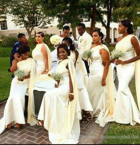 One Shoulder Long Mermaid Bridesmaid Dresses Plus Size Floor Length With Shawl Wedding Guest Gowns Long Bridesmaid Dress Custom Made