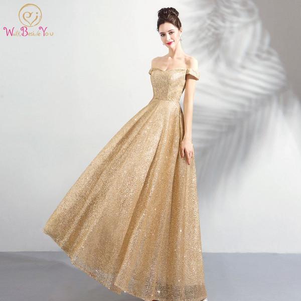 Caminhe Ao Lado De Você Ouro Vestidos de Noite Longo Fora Do Ombro Bling Lantejoulas Prom Vestido para As Mulheres Abito Cerimonia Donna Sera Noivado