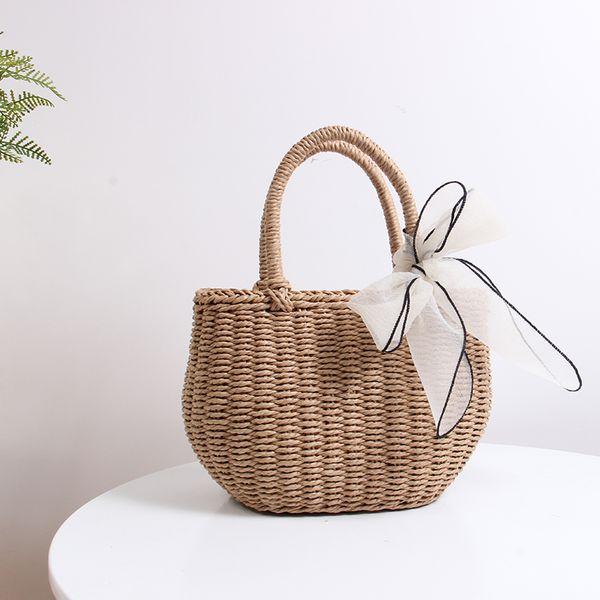 2019 New Summer Fashion Straw Tote Bags Handbags Women Vintage Handmade Woven Top-handle Bag Handbag Ladies Casual Small Travel Hand Bag
