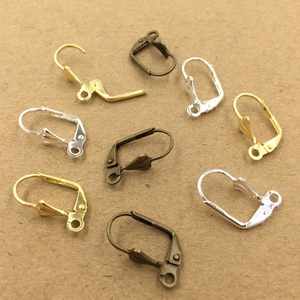 100pcs 10*17mm Anti-allergic pure copper French ear hook silver earring hook clasps for jewelry making, rose gold earing findings component