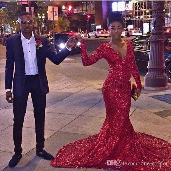 2017 New Sparkly Red Sequined Mermaid Prom Evening Dresses Long Sleeves for African Sexy V Neck Court Train vestidos de fiesta Party Dress