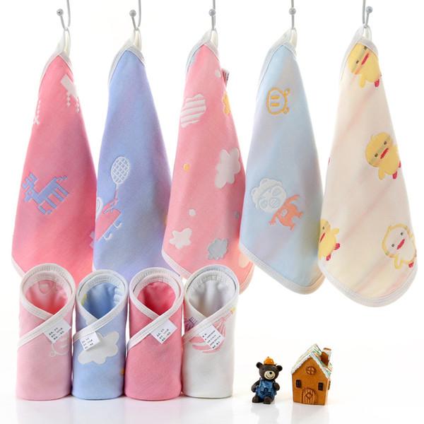 4 Pcs 6 Layers 100% Cotton Kids Towel Handkerchiefs Small Square Towel Muslin Infant Face Wipe Cloth Gauze Towels 25*25cm