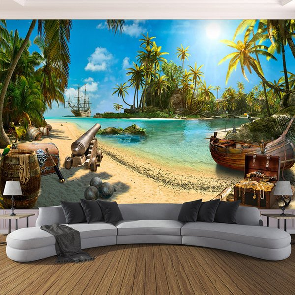 Custom Any Size 3D Wall Mural Wallpaper Home Decor Sandy Beach Coconut Trees Sea Island Landscape Wall Painting Photo Wallpaper
