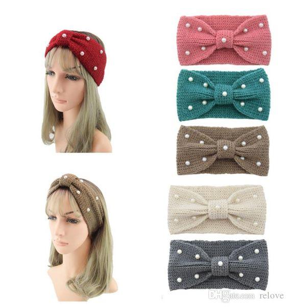 Mulheres Lady Crochet Nó Headbands Turbante Pérola De Malha Envoltório Cabeça de Inverno Ear Warmer Hairband Faixa de Cabelo Acessórios