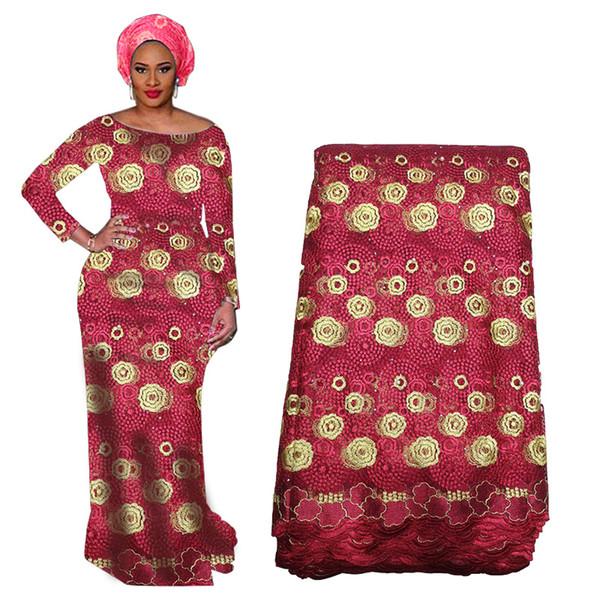 Tela del cordón del nuevo diseño con cuentas de África con los granos de Nigeria tela del cordón para la boda de tul bordado francesa gasa de tela de encaje BF0021
