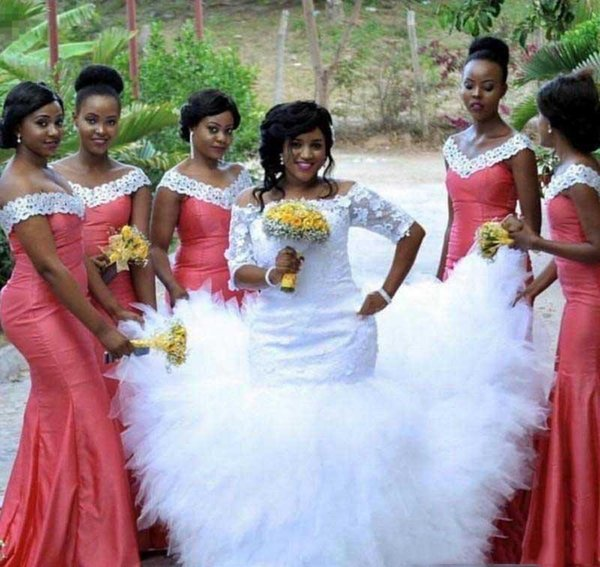 2019 African Nigerian Bridesmaid Dress Water Melon Long Spring Summer Formal Wedding Party Guest Maid of Honor Gown Plus Size Custom Made
