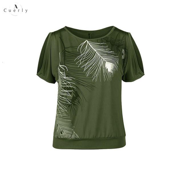 5XL Camiseta Plus Size Casual Mulheres Summer manga curta Fria Feather ombro Imprimir camiseta Feminino Camisetas