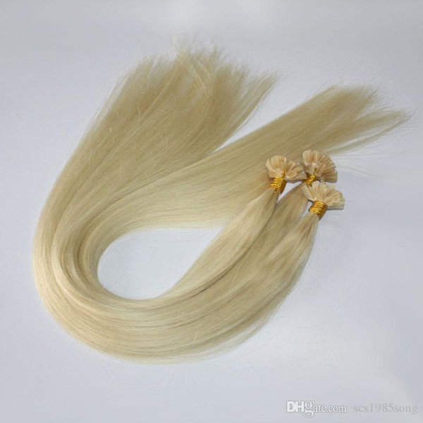 100 s 1 g / s bionda brasiliana umana italiana cheratina chiodo U estensioni dei capelli punta 18