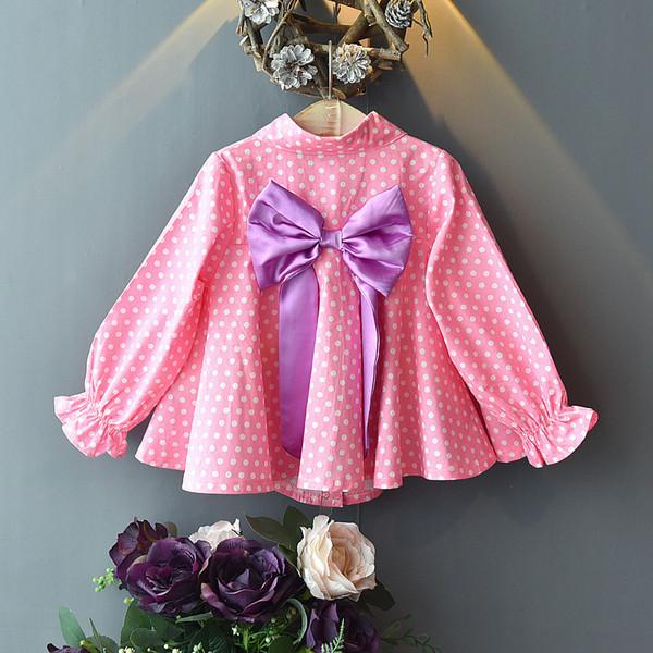 2019 neue Herbst Baby Mädchen Blusen Koreanische Kinder Langarm Rosa Dot Großen Bogen Prinzessin Tops Für 2-8Yrs Casual Girls Shirts