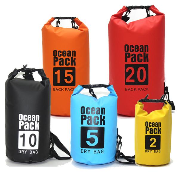 2019 Sacs de rangement imperméables pour vêtements Voyage Natation Kayak Randonnée pédestre Stockage par compression Sac étanche à sec Sac à dos pour hommes M241Y