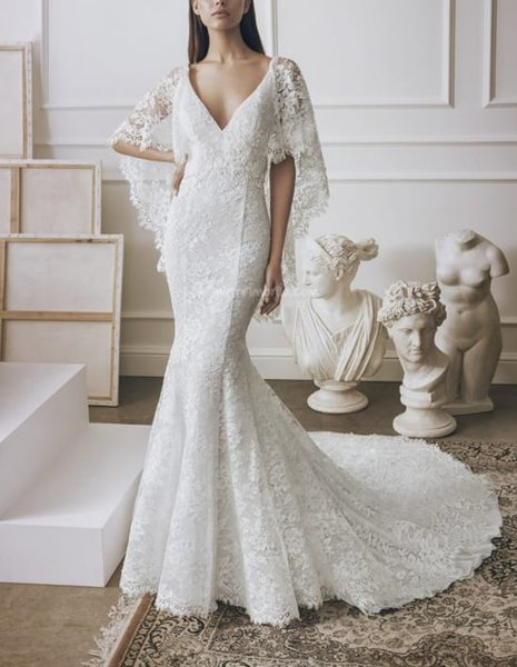 2020 Modern Full Lace Mermaid Wedding Dresses Deep V Neck Court Train Backless With Cape Designer Bridal Gowns Sexy Vestidos De Noiva