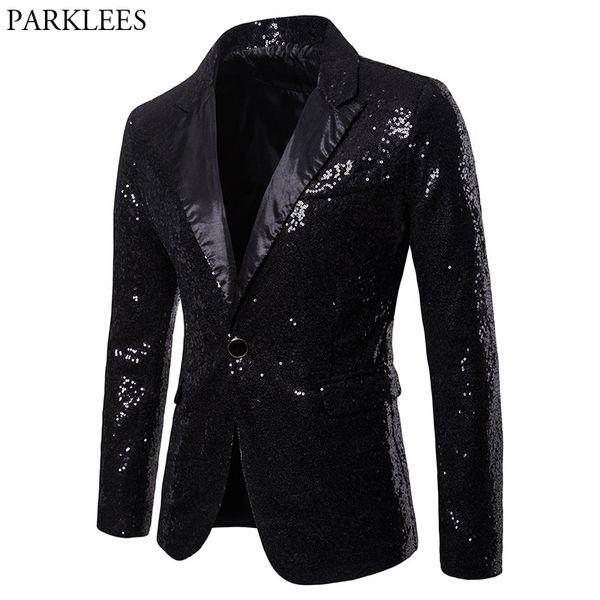 2019 Mens One Button Black Sequin Dress Blazers 2018 Brand New Nightclub Prom Men Suit Jacket Wedding Party Stage Blazer Masculino From Vincant,
