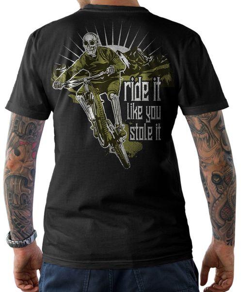 2019 Verão Tee Shirt T Shirt Ride It Like You Stole It Atacado desconto Bicicletas Downhill Crânio Ciclista S 3xl Camisa T Personalizado