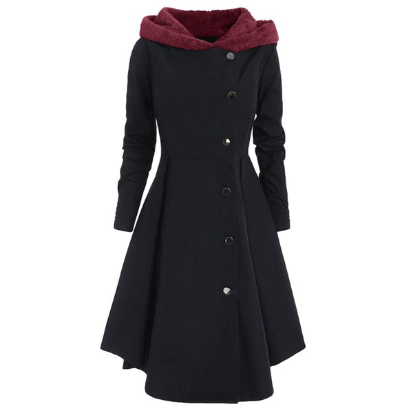 2019 autumn winter womens vintage trench coats warm long jackets coat long sleeve hooded overcoat jackets thin slim streetwears