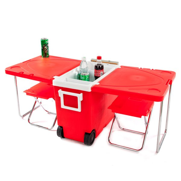 Outdoor Picnic Foldable Multi-function Rolling Cooler Red