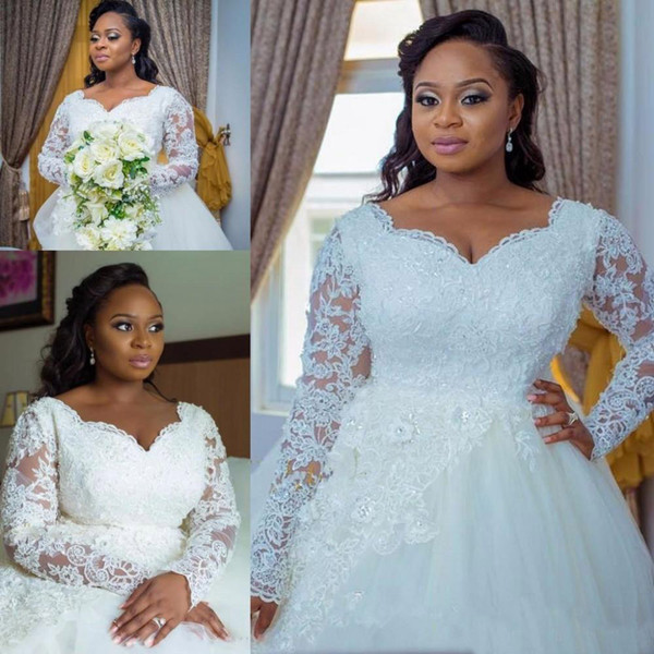 White 2019 Appliques Wedding Dresses Beaded Long Sleeves Ivory Wedding Dress Zip Back Bridal Gowns Arabic Court Train