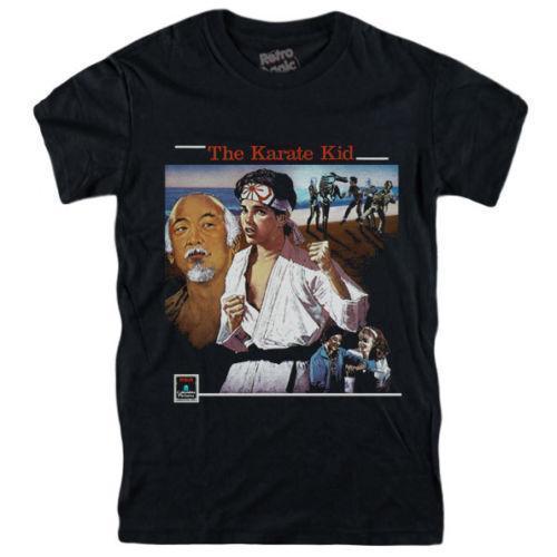 Karate Kid camiseta 1984 película - Ralph Macchio, Pat Morita, Elizabeth Shue VHSMens 2018 manera de la marca O-Cuello 100% algodón Tops