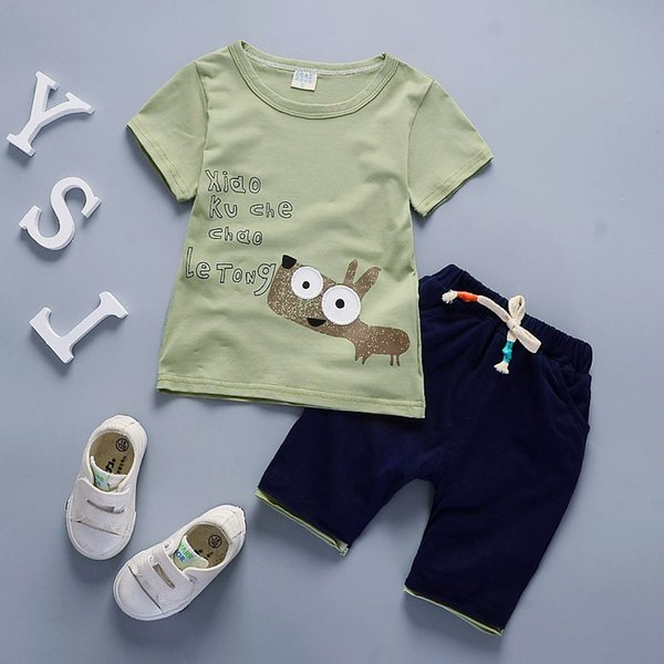 good quality 2019 Summer Baby Boys Clothing Set Toddler infant Outfits T-shirt+Shorts newborn Kids tracksuit sets regular pullover