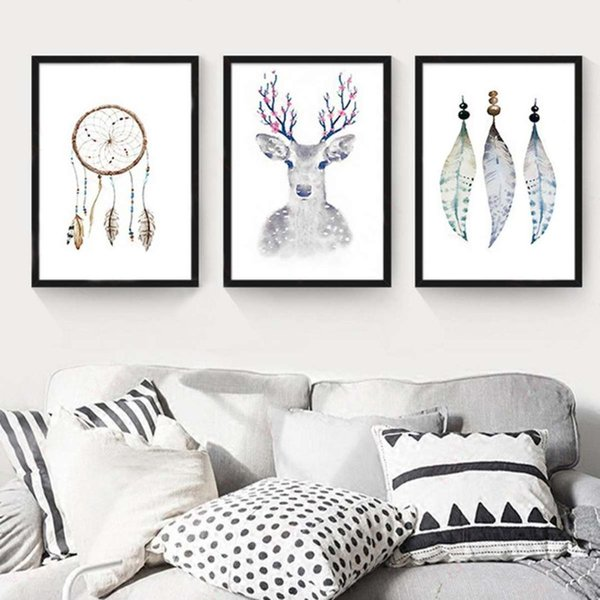 Nordique Simple Peint Dream Catcher Plume Cerf Affiche HD Imprimé Sur Toile Salon Mur Art Photo Home Decor Peinture