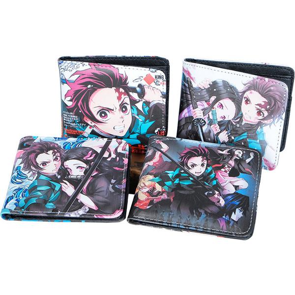 Animado Demon Slayer Kimetsu No Yaiba dibujos animados Tanjiro Kamado Cosplay Los titulares de tarjetas monedero de la bolsa de carteras de monedas