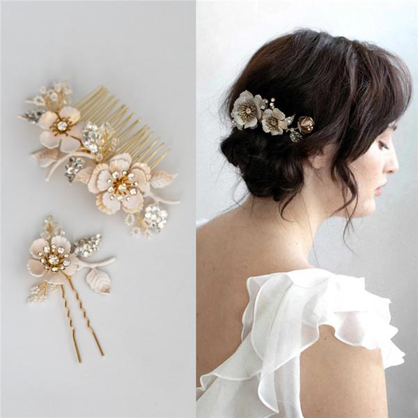 Vintage Wedding nuziale floreale del fiore del pettine dei capelli accessori di cristallo del copricapo perla del partito di promenade, Copricapo, Copricapo Ornamento Pins U